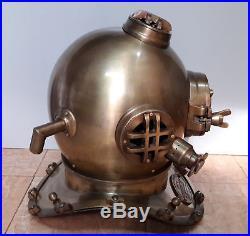 U. S Navy Diving Helmet Antique Mark V Vintage Divers Helmet Replica Scuba 18