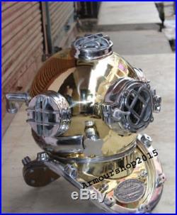 U. S Navy Diving Helmet Vintage Morse Solid Brass & Aluminium Full Size