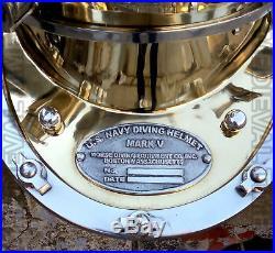 U. S Navy Mark V Aluminium & Brass Diving Divers Helmet 18 Vintage Replica Gift