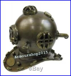 U. S. Navy Mark-V Antique Brass Aluminum Diving Helmet Full Size Replica
