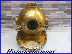 U. S Navy Mark V Antique Diving Divers Helmet Solid Alluminium And Brass 18
