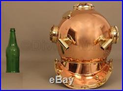 U. S Navy Mark V Divers Diving Helmet Antique Solid Copper & Brass Antique