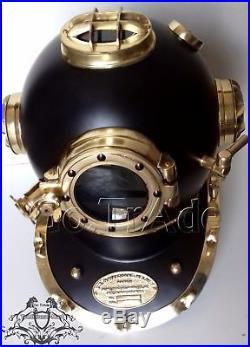 U. S Navy Mark V Diving Divers Helmet Vintage Solid Steel Black Or Brass Finish