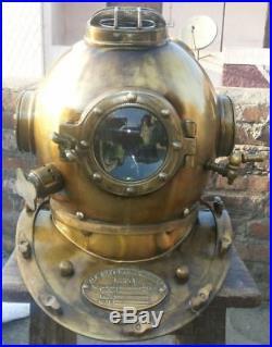 U. S Navy Mark V Real Antique Vintage Marine Diving Divers Helmet Gift