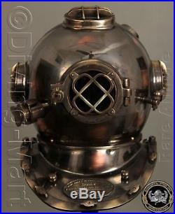 U. S Navy Mark V Solid Antique Copper & Brass Diving Divers Helmet Full 18