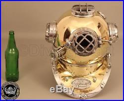 U. S Navy Mark V Solid New Vintage Brass & Aluminium Antique Divers Helmet