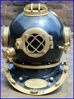U. S Navy Mark V Solid Steel Heavy Diving Divers Helmet 18 Vintage
