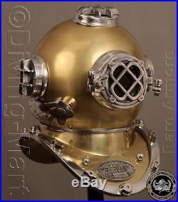 U. S Navy Mark V Solid Steel & Iron Antique Diving Divers Helmet Full 18