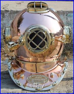 U. S Navy Mark V Solid Steel & Iron Diving Divers Helmet Vintage 18