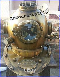 U. S Navy Mark V Solid Steel Original Antique 18Scuba Diving Divers Helmet