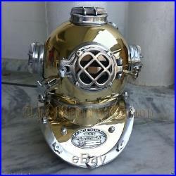 U. S Navy Mark V Vintage 18 Antique Brass Scuba Deep Sea Diving Divers Helmet