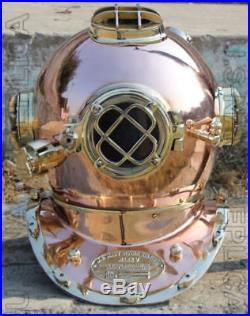U. S Navy Mark V Vintage Solid Copper & Brass Diving Divers Helmet 18