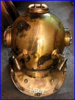 U. S Navy Mark V Vintage Solid Steel Diving Divers Helmet 18