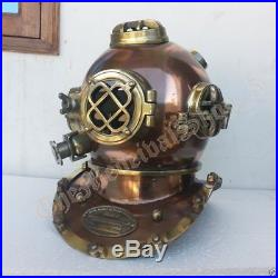 U S Navy Mark V Vintage Steel Antique Marine Deep Sea Divers Diving Helmet