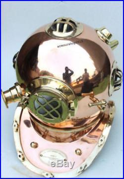 U. S Navy Mark v Morse Solid Brass & Copper Diving Divers Helmet Christmas Gift