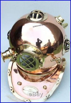 U. S Navy Mark v Solid Brass & Copper Morse Diving Divers Helmet Christmas Gift