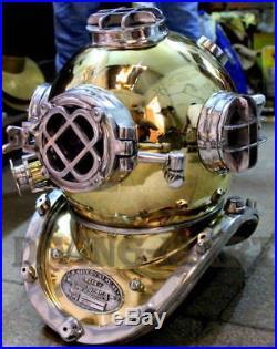 U. S Navy Model Solid Brass & Aluminum Special Fitting Diving Helmet Full Size