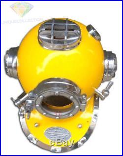 U. S. Navy Morse Diving Helmet Mark V Yellow & Chrome Finish Divers Costume