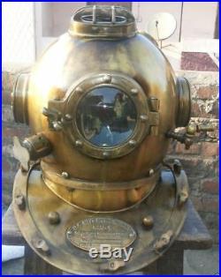 U S Navy Royal Antique Boston Scuba Solid Sca Divers Helmet Mark V Marine Gift