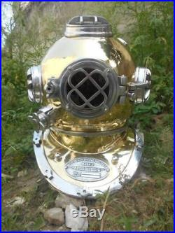 U. S Navy Scuba Divers Diving Helmet DEEP Antique Mark V Brass ALUMINIUM