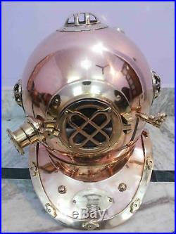 U. S Navy Solid Copper Brass Diving Helmet Divers Mark V 18 Maritime