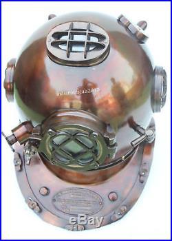 U. S Navy Solid Copper & Brass Mark Antique Diving Divers Helmet Replica 18