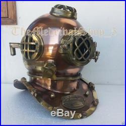 U S Navy Steel Antique Mark V Vintage Marine Deep Sea Divers Diving Helmet