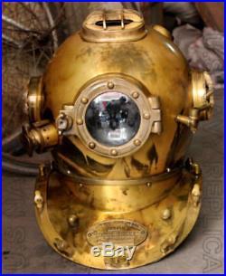 U. S Navy Vintage Diver Helmet Mark V Solid Steel Heavy Diving Divers Helmet 18