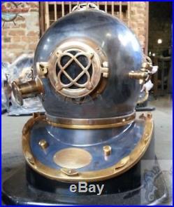 U. S Navy Vintage Diving Mark V Divers Helmet Copper & Brass With Base