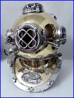 U. S Navy Vintage Mark V Sea Brass Helmet Antique Diving Divers Vintage