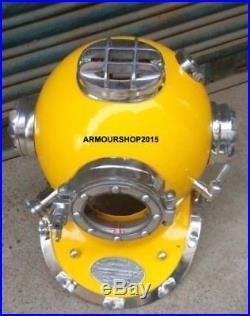 U. S. Navy Yellow & Chrome Finish Diving Helmet Mark V Replica