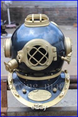 U. S. Navy mark V Nautical diving divers helmet solid steel & brass full 18 size