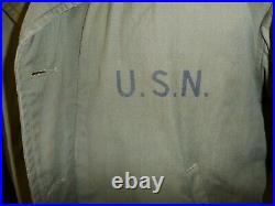 U3B-117 US Navy WW 2 OD Deck Jacket USN stencil size 42