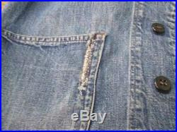 US NAVY Shawl Collar Denim Coverall Old Clothes Vintage 40's Men's Jacket Rare