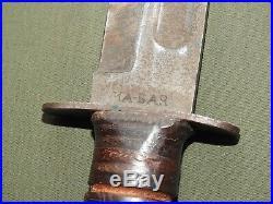 US Navy USMC Marine WW2 BLADE MARKED KA-BAR FIGHTING KNIFE Vtg Fixed Combat RARE