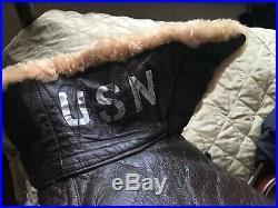 US Navy Vintage Flight Jacket Gordon & Ferguson M445A Military Leather USN Sz S