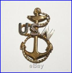 US Navy WWI Chief Petty Officer Cap Badge Pre WWII Sterling Silver USN CPO M2803