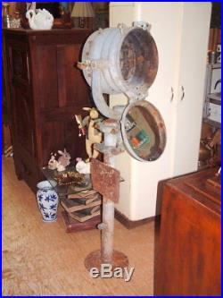 US Navy WWII Crouse Hinds 12 Inch Morse Code with Pedestal Shutter Lamp USN Ship
