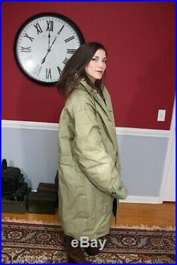 US WW2 USN Navy Fur Lined Long Deck Jacket Foul Weather Parka Sz 48 Huge! J28