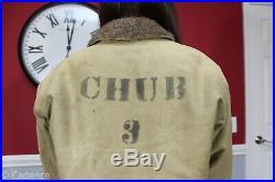 US WW2 USN Navy Fur Lined Short Deck Jacket Chub 3 Submarine! Sz 38 NICE! J24