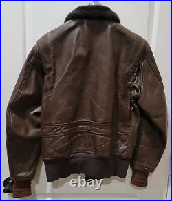 USN G1 Vintage Leather Flyers Jacket Military DSA100-75-C-1788 Size 42