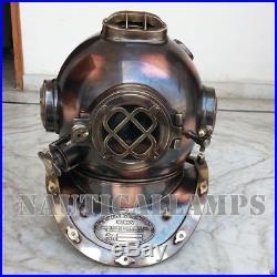USN MKV Brass Copper Antique Diving Divers Helmet Vintage Style Boston Helmet