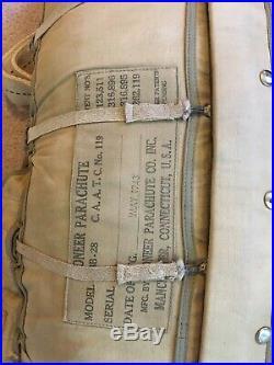 USN USAAF B-8 Type Back Parachute, Original! May 1943