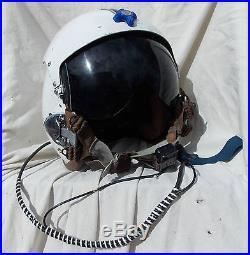 USN USMC Jet Fighter Pilot Flight Helmet Type APH-5, Large, 1960's, Chin Mike, WOW