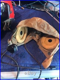 USN USMC Pilot Flight Helmet Type APH-5 Single Visor, Large, 50's to 60s, Boom Mike