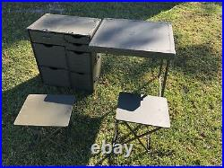 Used US Military M1952 Wooden Field Desk withone stool Army Navy USMC Surplus