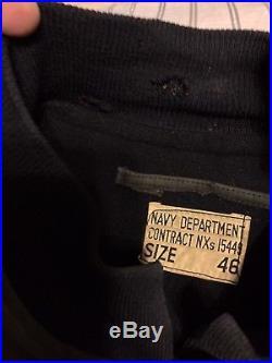 Usn Ww11 Dark Blue Hook Close Mint Deck Jkt! Front Patch&us Navy Stencil Back! 46