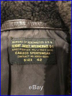 VINTAGE CAGLECO USN US NAVY FLIGHT BOMBER JACKET, Intermediate G-1, sz 42