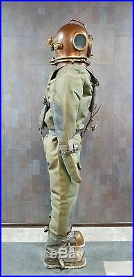 VINTAGE U S NAVY 3-bolt Diving diver's suit Full-size 6 feet complet accessories