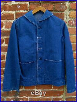 VINTAGE US NAVY Shawl Collar JACKET Denim Jeans WWII Dungaree Trouser 33x33
